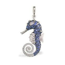 White gold seahorse pendant with sapphires and diamonds sea life white gold seahorse pendant with sapphires and diamonds sea life jewelry collections aloadofball