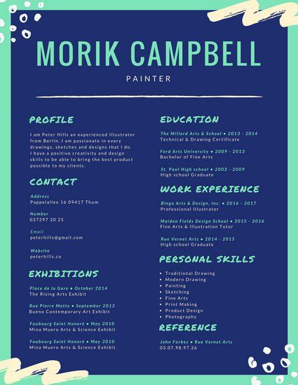 Blue Aquamarine Colorful Resume  Resume    Template