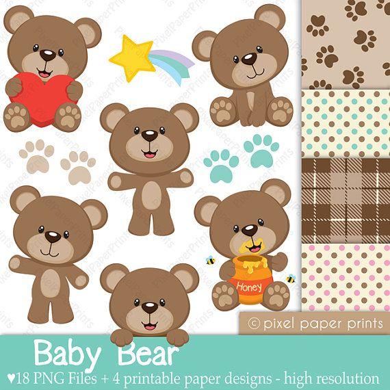 Baby Bear Clip Art and Digital Paper Set by pixelpaperprints