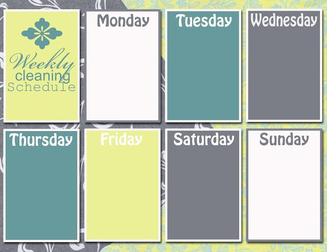 Discover Create Live Graphic Monday Weekly Cleaning Schedule