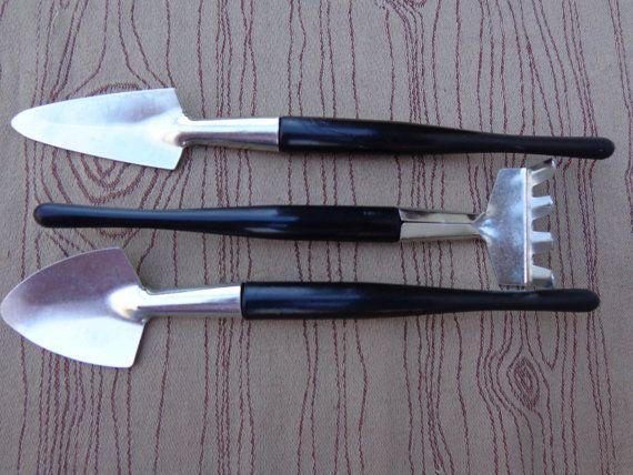 Llliputian Miniature Terrarium Landscape Fairy Bonasi Zen Garden Tools Rake  Shovel Spade Trio Fung Shui. Llliputian Miniature Terrarium Landscape Fairy Bonasi Zen Garden