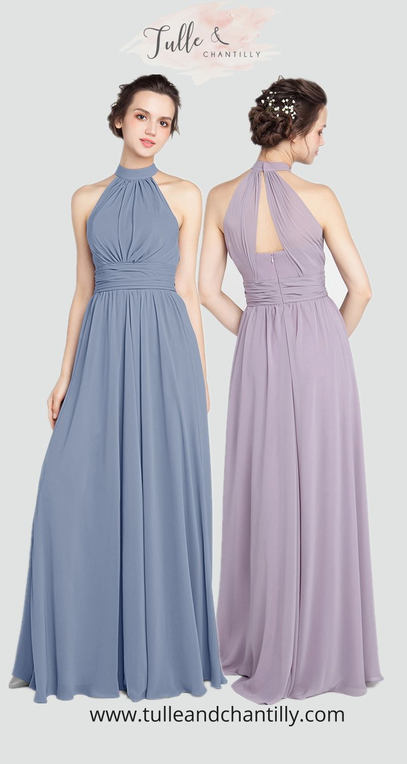 dusty blue and mauve bridesmaid dresses for 2019  wedding   weddinginspiration  bridesmaids  bridesmaiddress  bridalparty  maidofhonor   weddingideas ... b5604a04c3d5