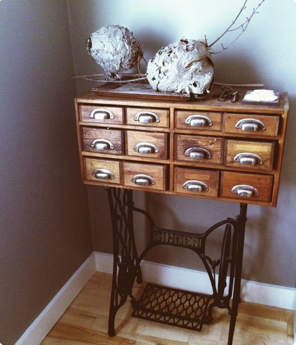 25 Upcycled School Furniture And Card Catalogs It S School Time The Cottage Market Sewing Machine Drawers Repurposed Furniture Antique Sewing Machines