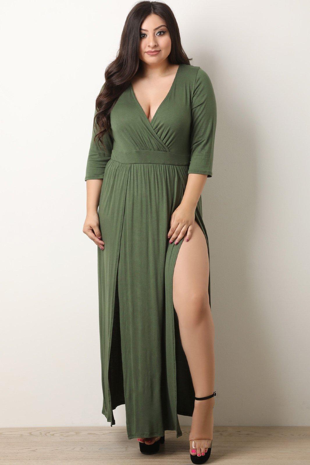 51ce09bf40d Surplice Double Slit Maxi Dress - Rosie Grace Boutique