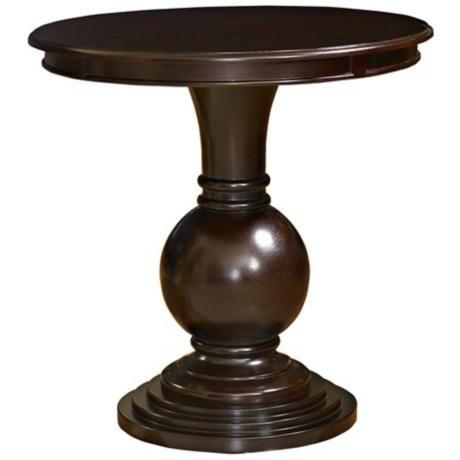 Round Espresso Wood Accent Table W9149 Lampsplus Com