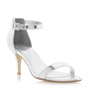 Roland Cartier Silver strappy ankle strap mid heel sandal- at Debenhams Mobile