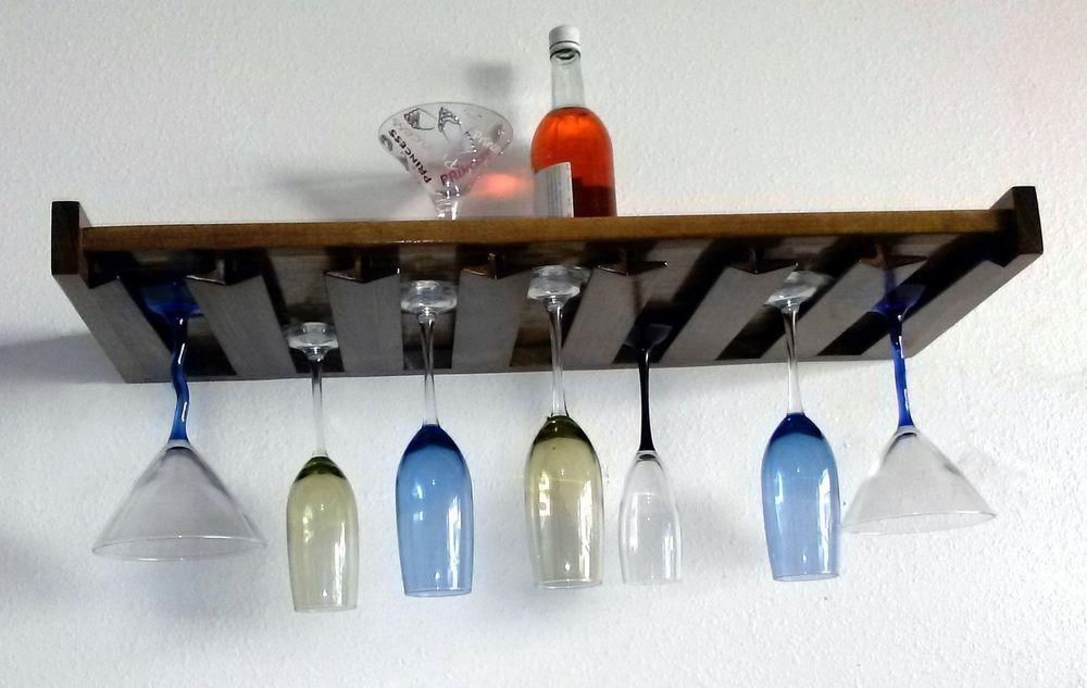 Wine Gl Holder Shelf Wood Floating Office Bar Wall Mount Rack 230prm In Home Garden Ebay