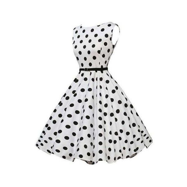 622b72a9d13eb Sleeveless Polka Dot Print White A Line Dress ( 24) ❤ liked on Polyvore  featuring dresses