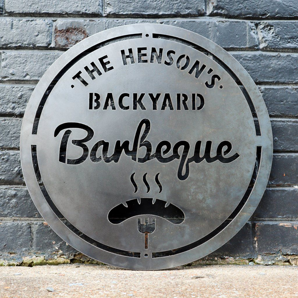 Personalized Metal Family Backyard Barbeque Sign Outdoor Last Name Grilling Bbq Patio Decor Man Cave Wall Art Outdoor Metal Wall Art Patio Wall Art Backyard Barbeque