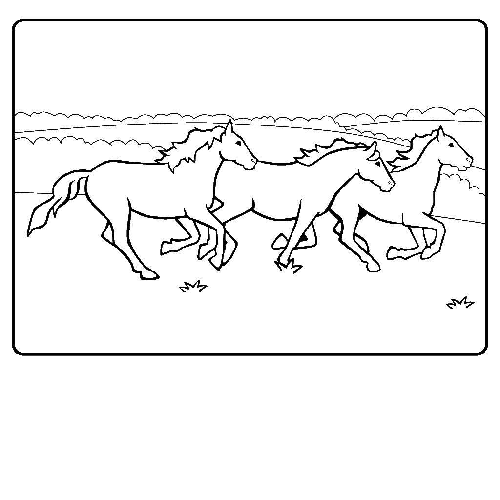 Horses Running Coloring Page Id Uncategorized