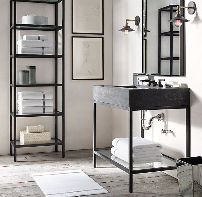 Modern Industrial Style Combines Aesthetics With: Hudson Metal Single Washstand In 2019