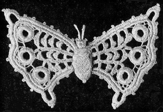 Irish Crochet Butterfly Pattern Vintage Dollbabiesreborns