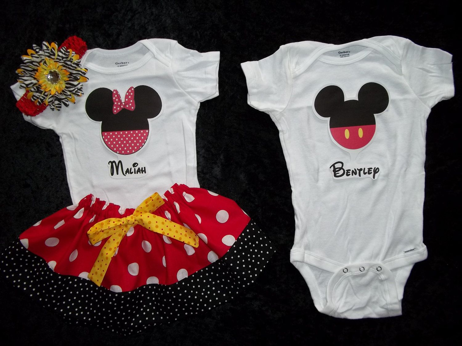 BoyGirl Twins Matching Outfits Skirt and Onesie 12m 18m MinnieMickey Mouse
