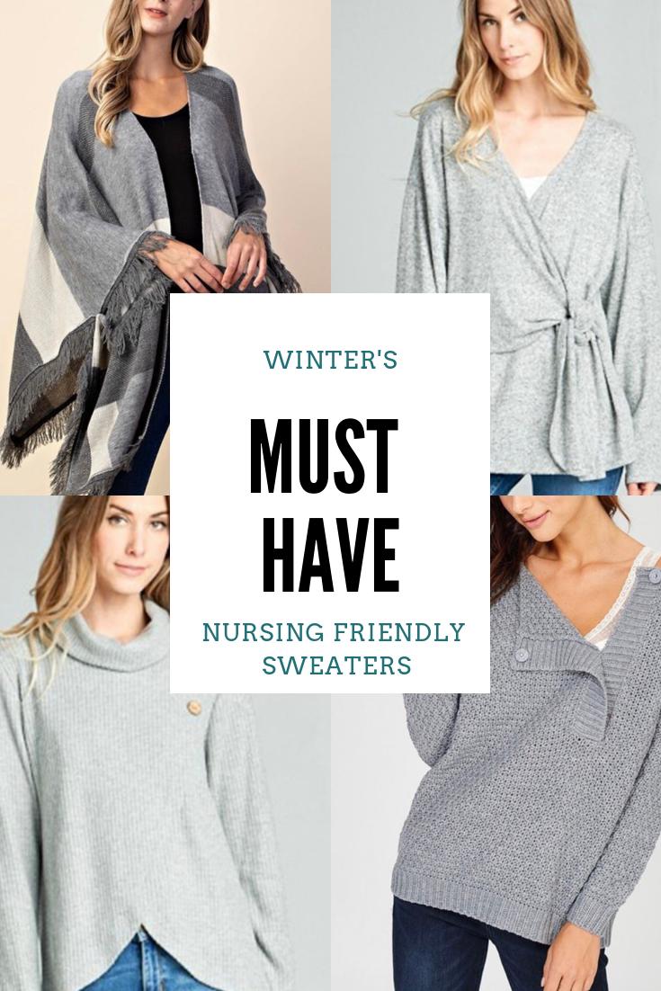 37b3191f053 This Fall & Winter must have cute nursing friendly sweaters for breastfeeding  moms. #milkandbaby