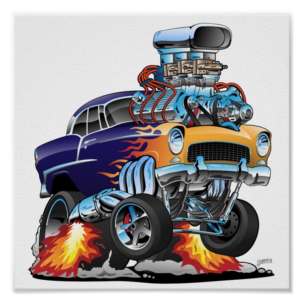 Classic Fifties Hot Rod Muscle Car Cartoon Poster | Zazzle.com