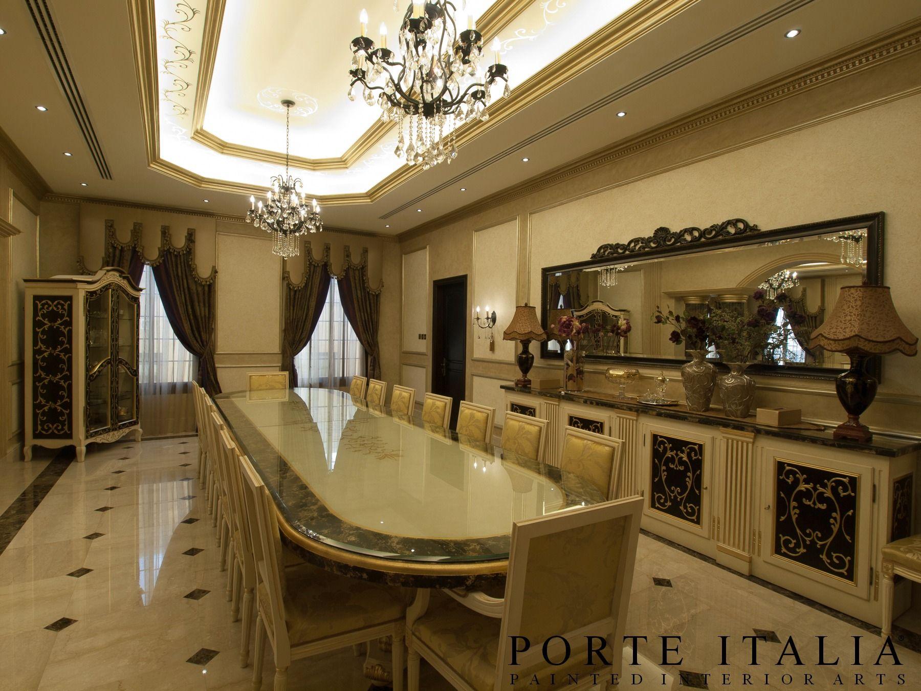 A dining room of a Private Villa in Dubai. #luxuryfurniture #bespoke #interiordesign #madeinitaly #Italiandesign