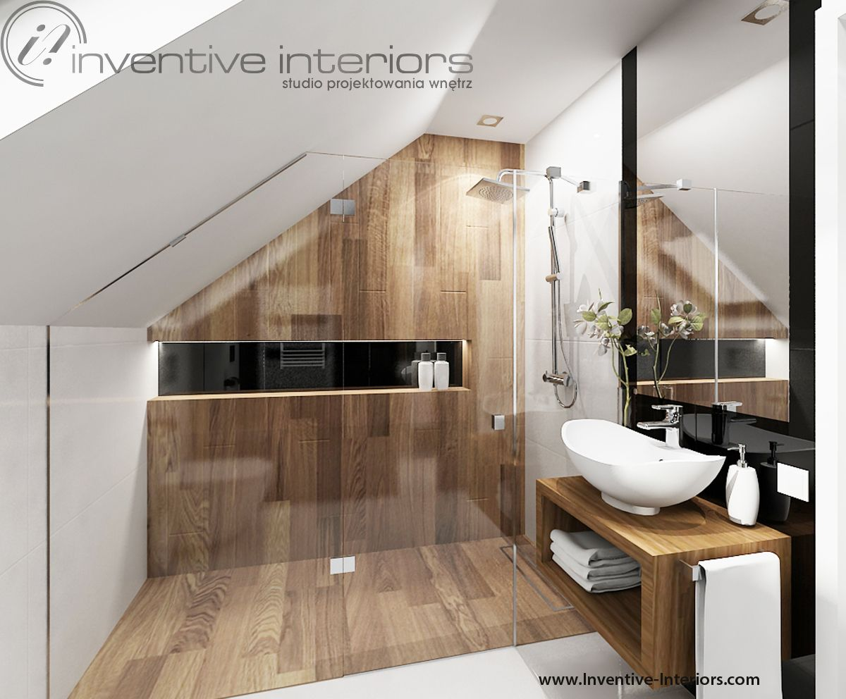 Projekt łazienki inventive interiors kabina pod skosem
