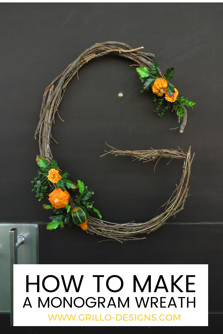 Diy fall monogram wreath tutorial craft and diy ideas
