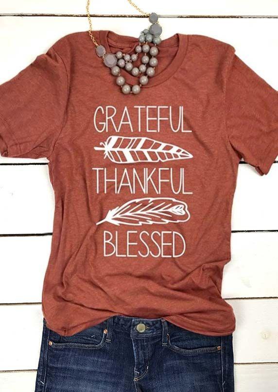 3d318ef1a Grateful Thankful Blessed O-Neck T-Shirt - Fairyseason  