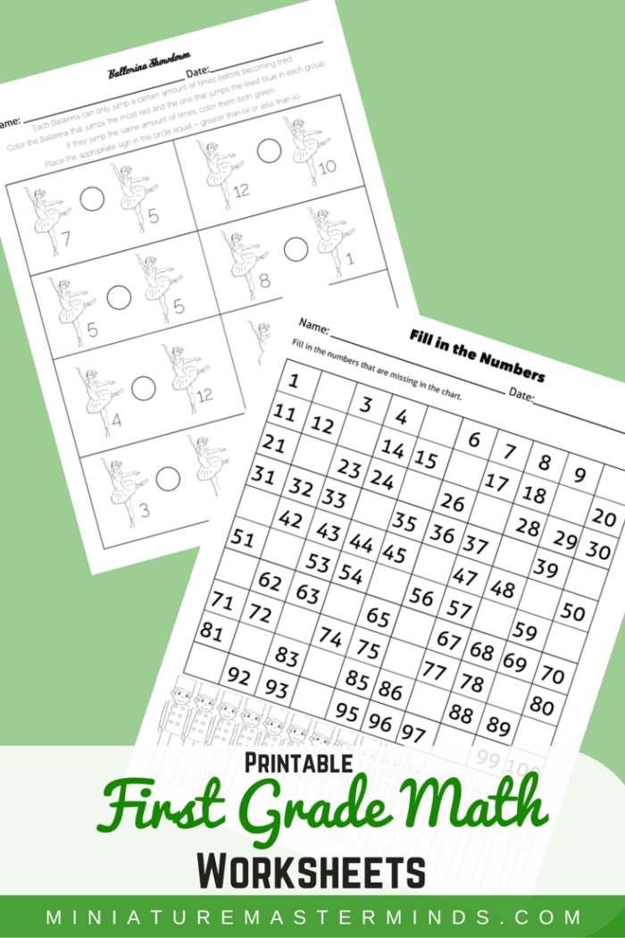 Two first grade math worksheets the nutcracker theme number share this first grade math fill in the number chart 1 100 ballerina showdown greater and less than worksheet i was planning a full pack of worksheets ibookread ePUb