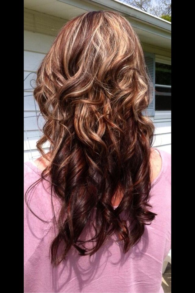 Pretty burgundy and blonde highlights hair pinterest blondes color dark chocolate brown base hint of red with highlights lowlights on top color by hillary rose yellow tuesdays in lima ohio pmusecretfo Choice Image