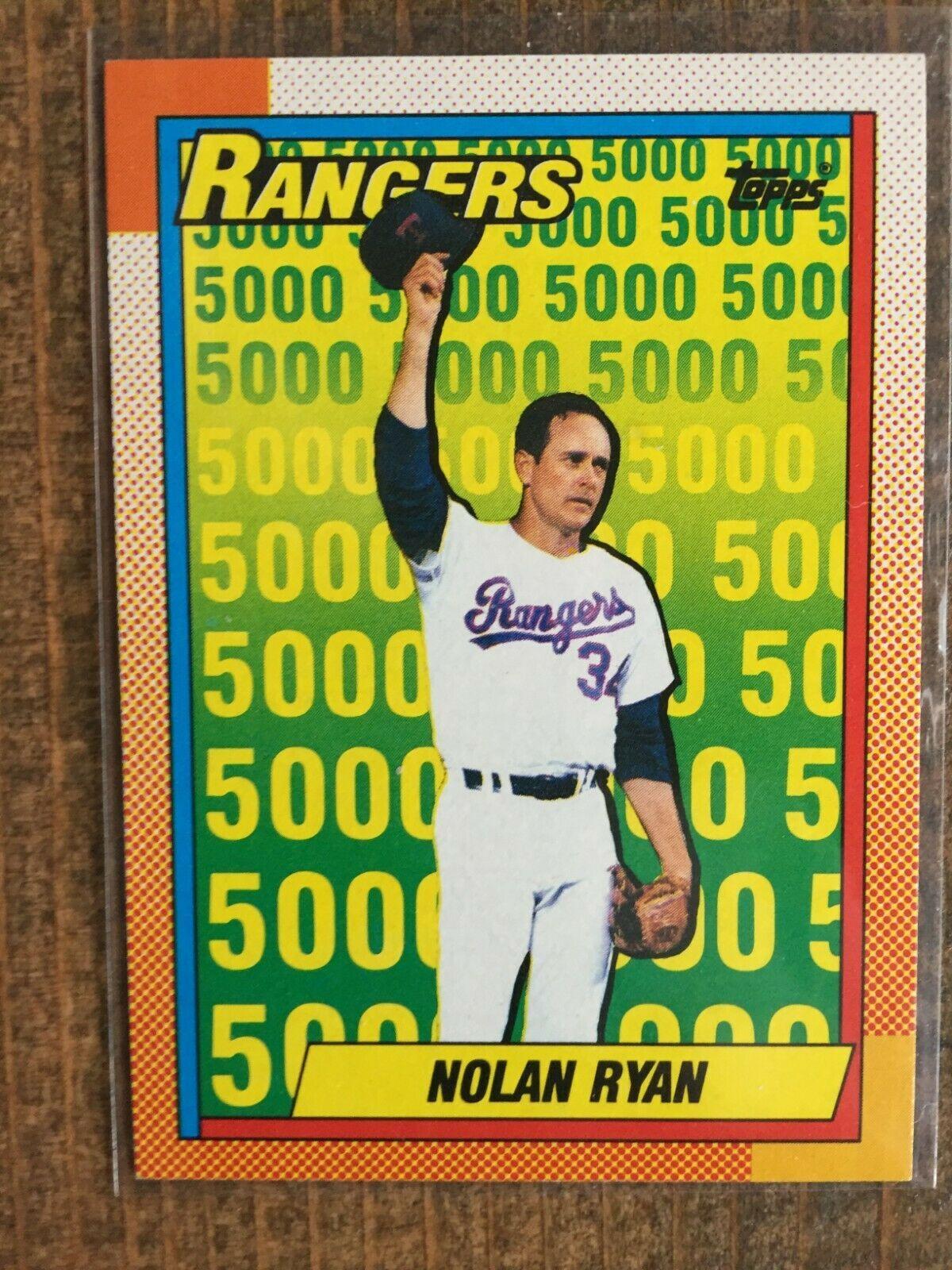1990 Topps 5 Nolan Ryan Texas Rangers 5000 Strikeouts Nm Mt Nice Card Nolan Ryan Texas Rangers Mlb Texas Rangers