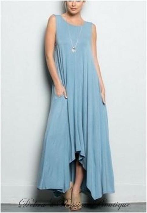 1a1c8f5b066 Comfy charming solid colors flow-y hi lo pocket tank maxi sleeveless dress
