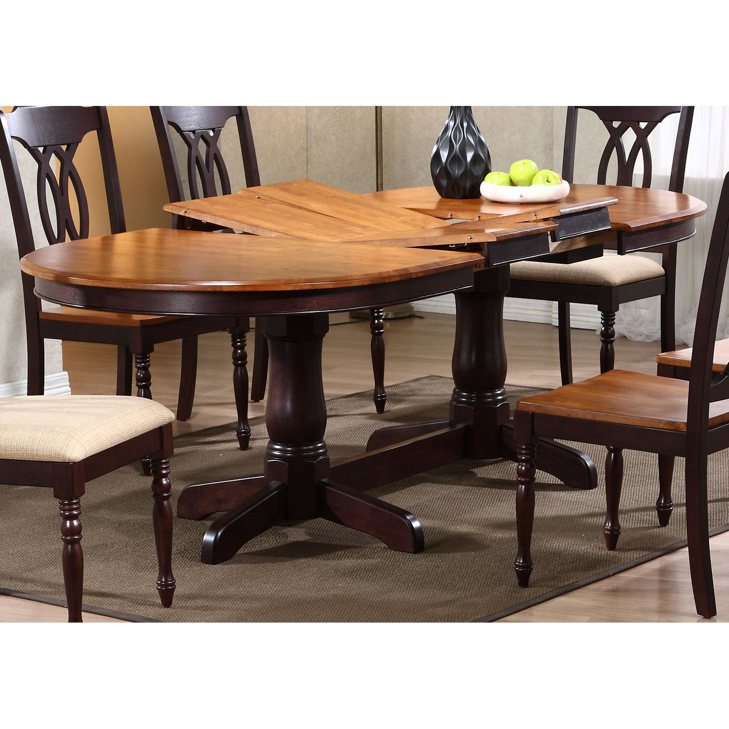 Gatsby Oval Dining Table Double Butterfly Leaf Whiskey Mocha Dining Table Extendable Dining Table Dining Table In Kitchen