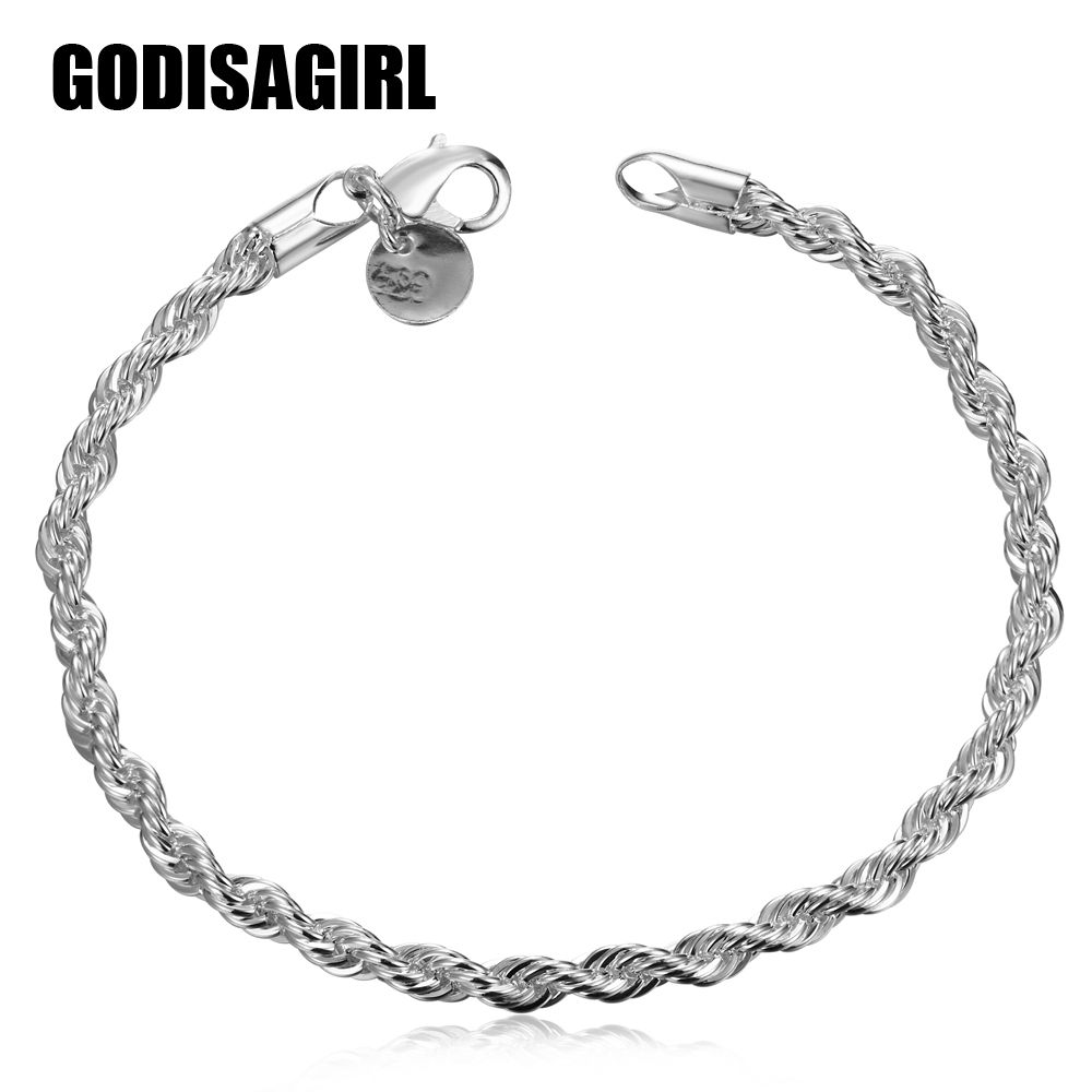 Silver plated simple vintage bracelets birthday gifts for men women