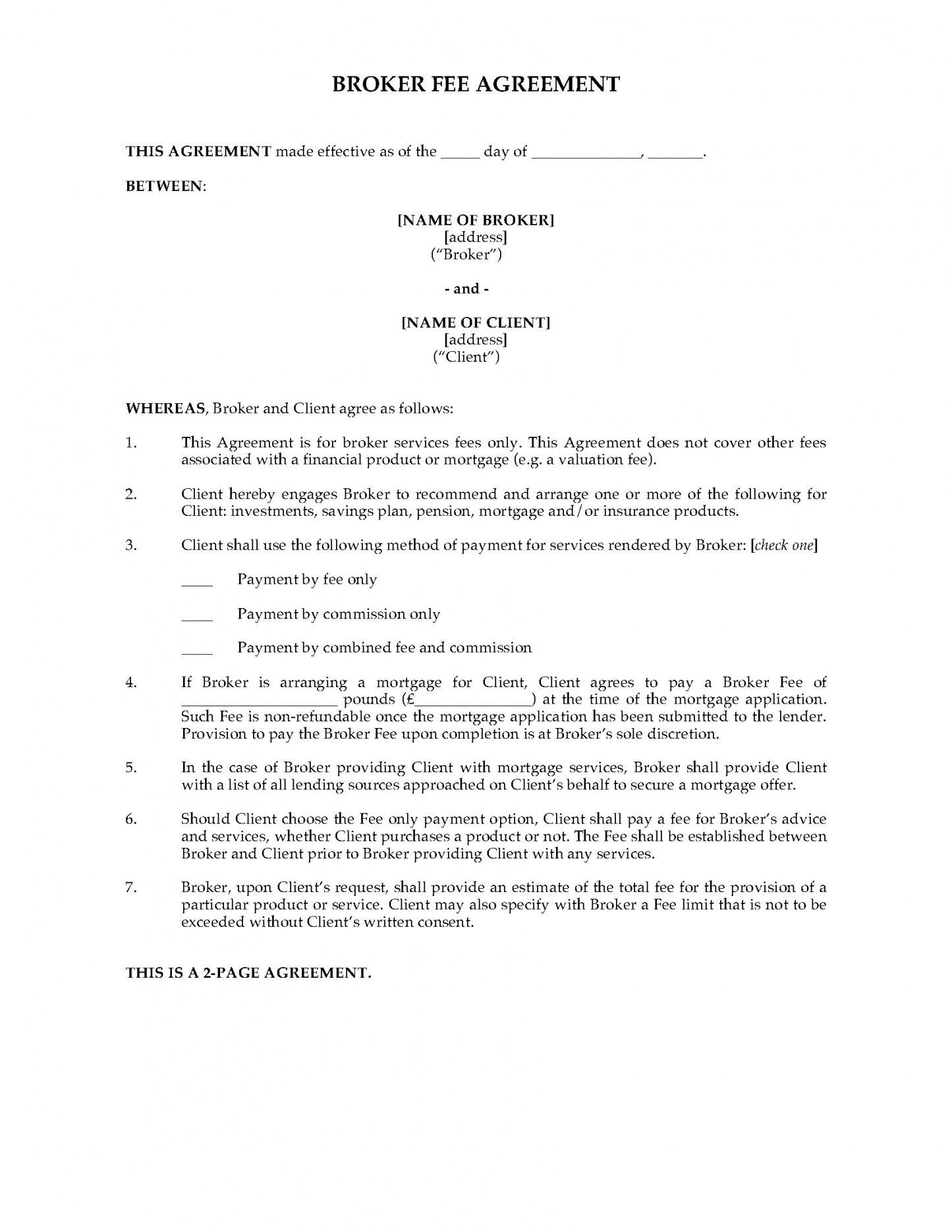 Get Our Image of Broker Fee Agreement Template in 2020