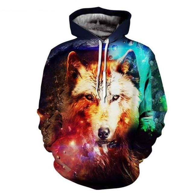 Beautiful New Ice Fire Double Wolf Head 3d Digital Printing Hat Couples Vest Women's Clothing