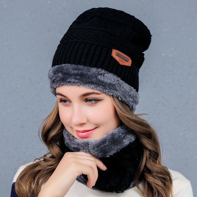 b1dc2416527 Newly Women s Hat Scarf Set Thicken Plush Lining Neck Wrap Thermal Cap  Muffler
