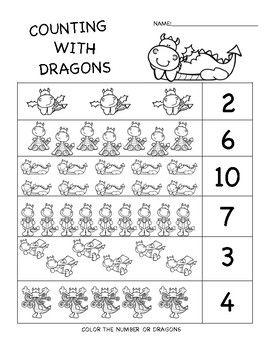 dragon numbers and counting work preschool math preschool worksheets dragon preschool math. Black Bedroom Furniture Sets. Home Design Ideas