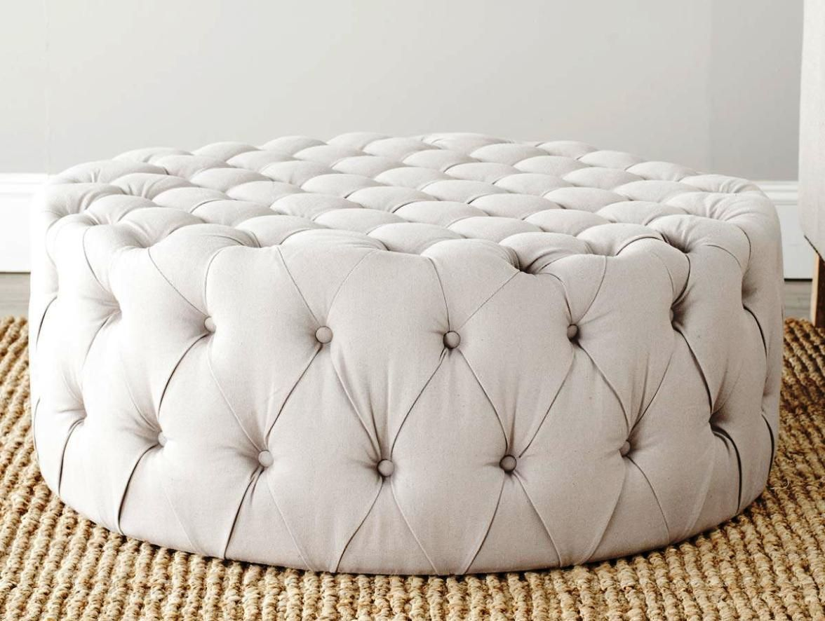 12 Best Samples Of Circle Ottoman Coffee Tables In 2020 Round Leather Ottoman Round Tufted Ottoman White Leather Ottoman