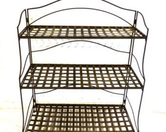 Vintage Wrought Iron Garden Shelf   1960s Outdoor Garden Metal Plant Stand