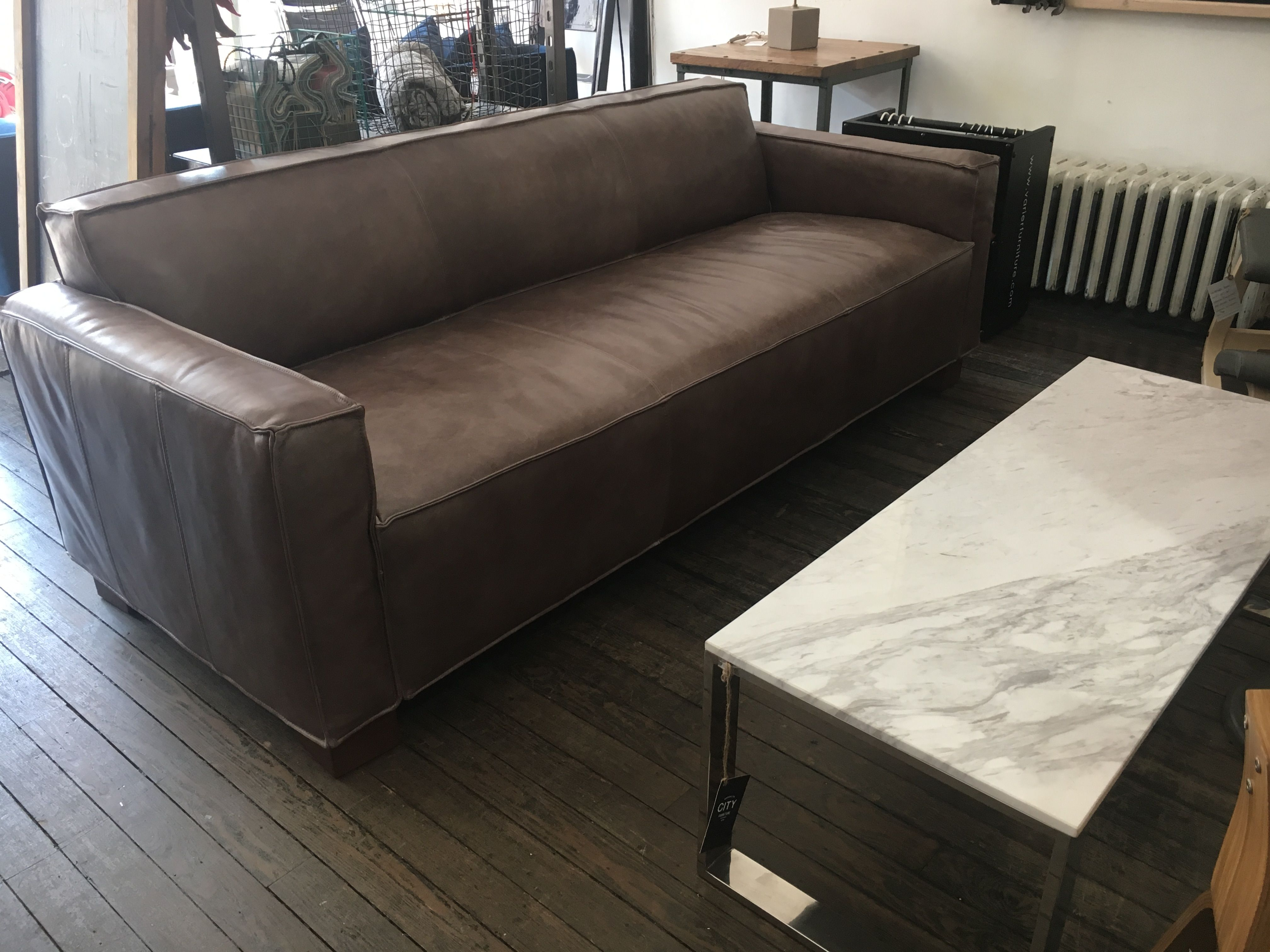 Brown leather cabot sofa by gus modern brooklyn city city furniture contemporary furniture