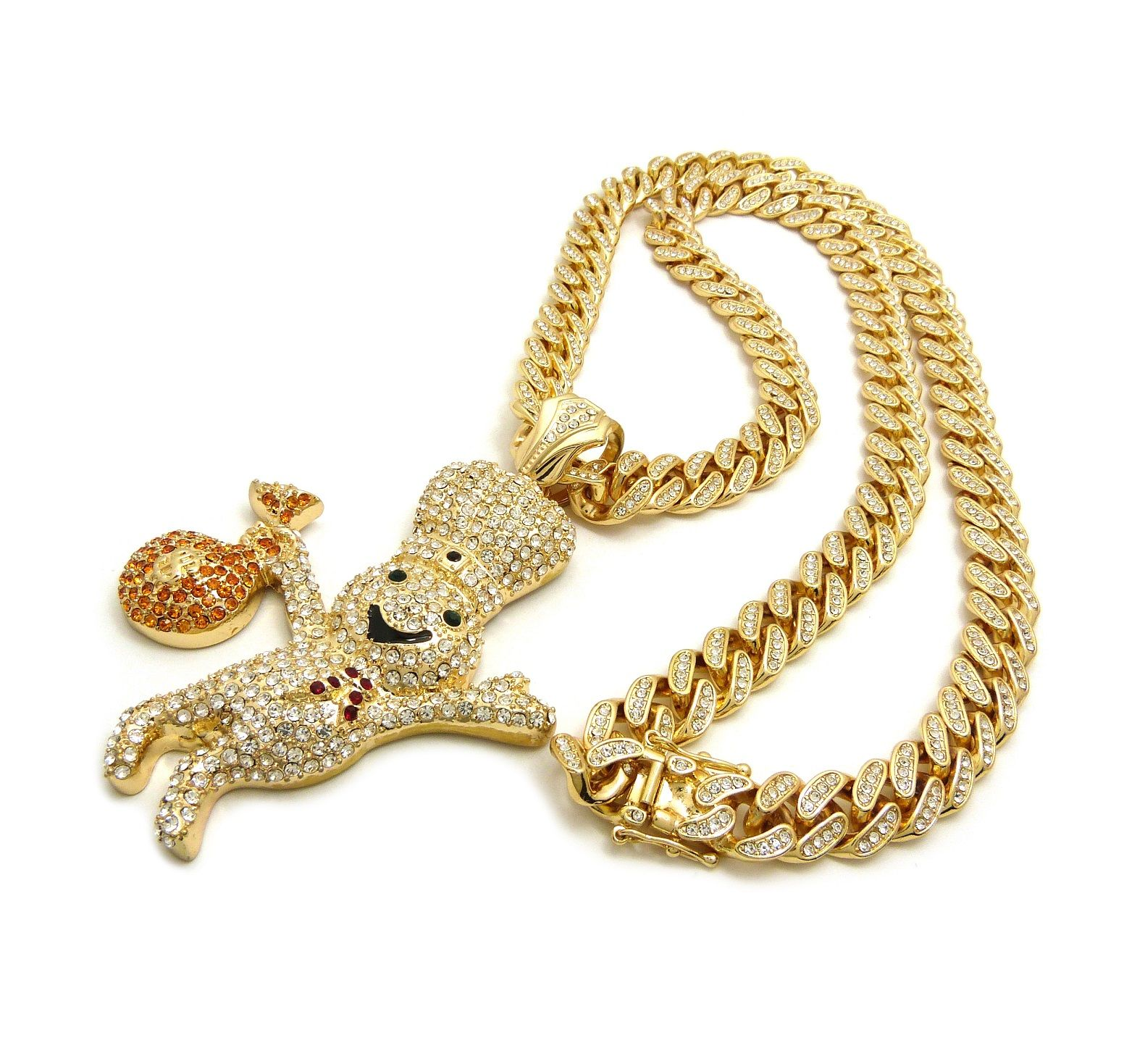 """Men/'s Hip Hop 5 STAR CHICK Pendant /& 12mm 30/"""" Full Iced Cuban Chain Necklace"""
