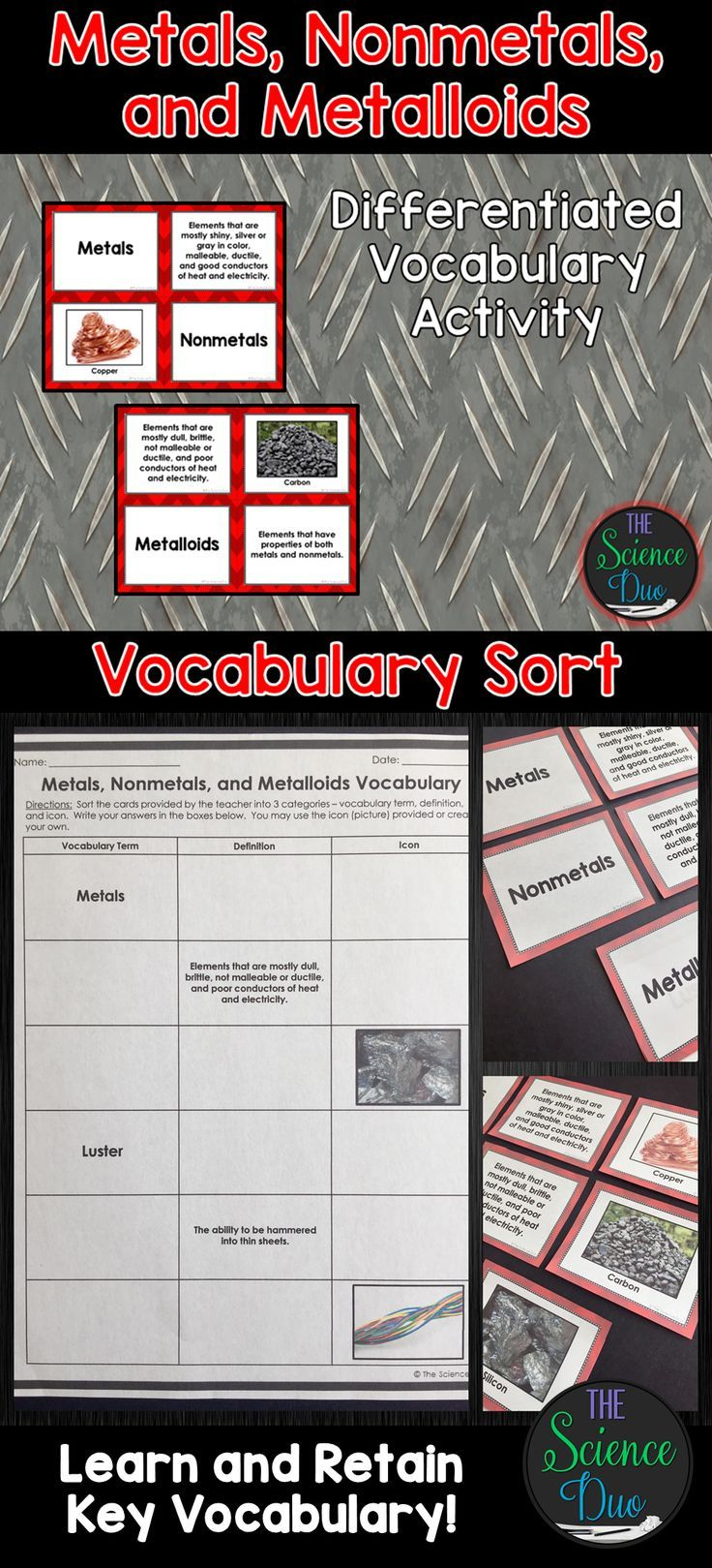 Metals nonmetals and metalloids vocabulary sort chemistry periodic table help your students grasp and retain key chemistry vocabulary with this interactive vocabulary sort activity relating urtaz Gallery
