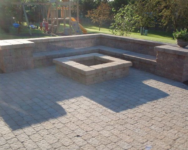 square fire pit with patio bench wall - Patio Design Ideas With Fire Pits