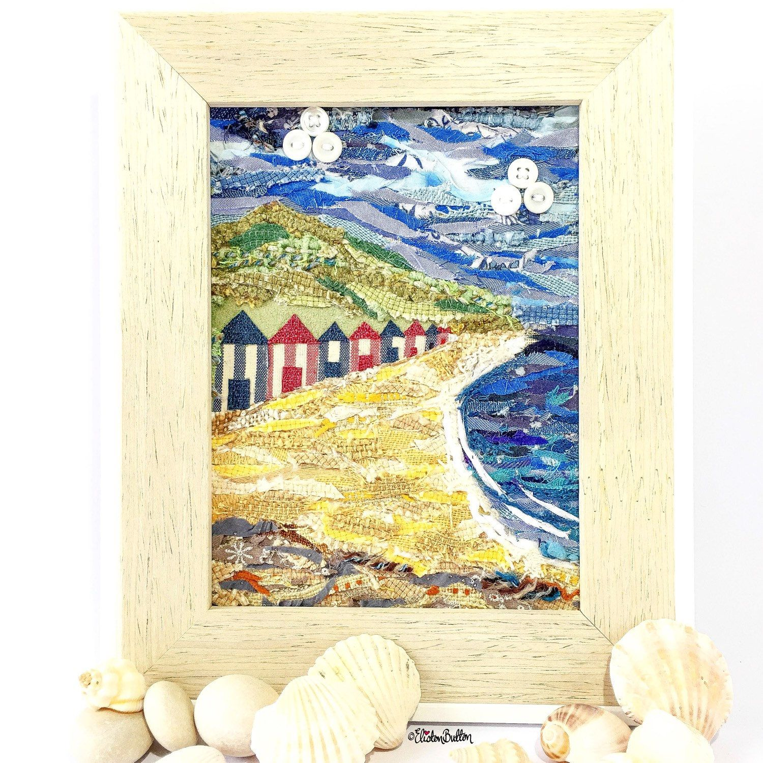 Beach Huts, Fabric Collage, By the Sea, Original Art, Seaside Home ...