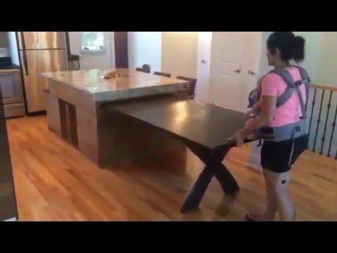Ilot De Cuisine Table Coulissante Action De Retour Youtube En