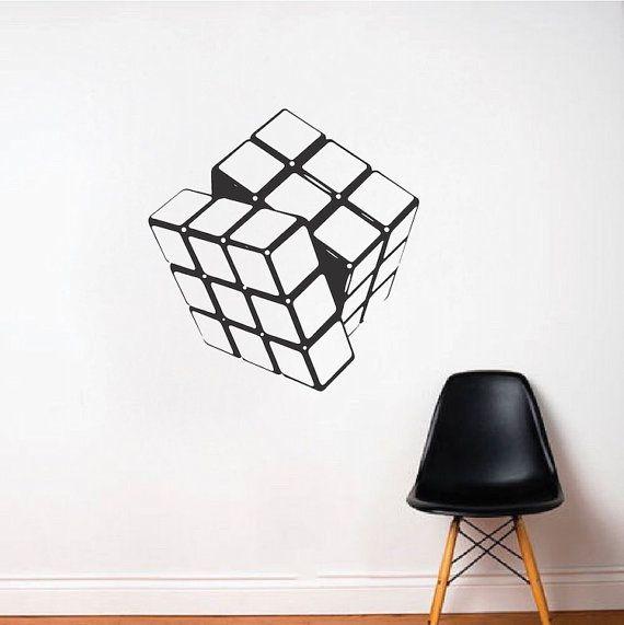 Rubik\u0027s Cube Wall Decal, Rubik\u0027s Cube Wall Art Vinyl Sticker, Kids