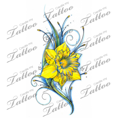 Vivid Daffodil Tattoo Reversed Flower2 2533 Createmytattoo Com Daffodil Tattoo Flower Tattoo Shoulder Birth Flower Tattoos
