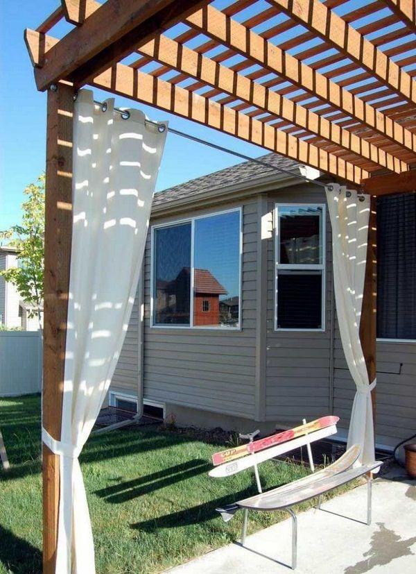 wooden pergola curtains white sun shade bench ski turf house gray - Wooden Pergola Curtains White Sun Shade Bench Ski Turf House Gray