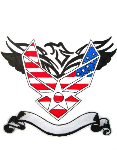 Usa Flag Air Force Military Logo With Tribal Eagle Tattoo Design
