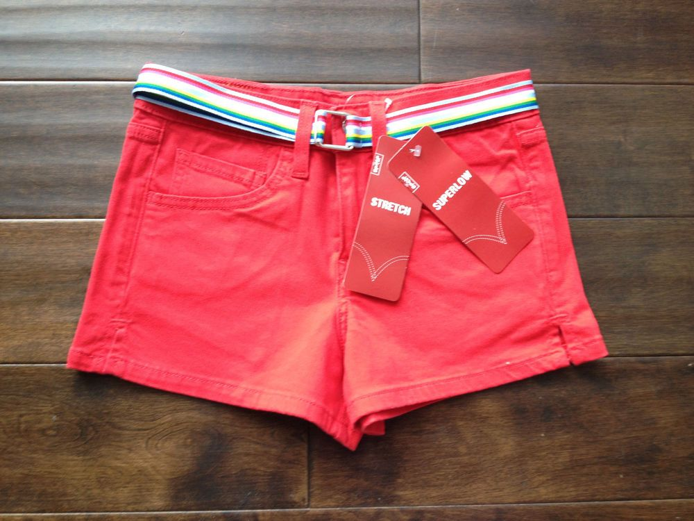 NWT Levi's Superlow Stretch Junior Red Shorts Size 0 #Levis ...