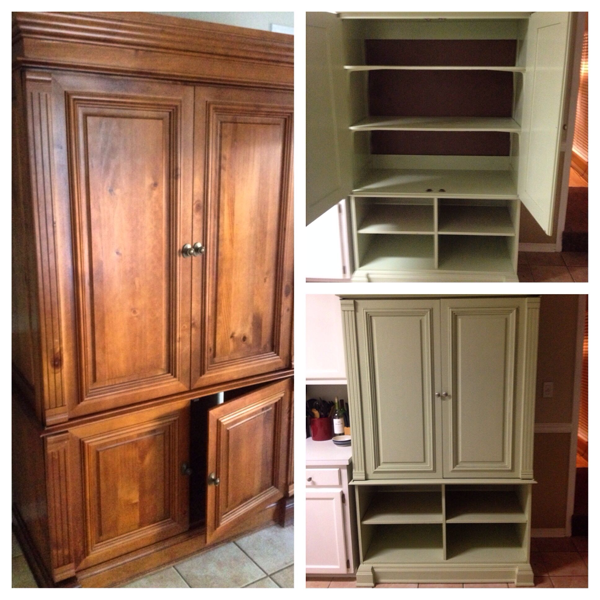 Turn an old tv armoir into a cute kitchen pantry diy diy pantry