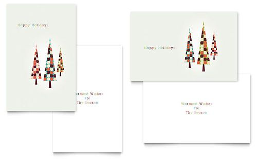 Modern Holiday Trees Greeting Card Template By Stocklayouts Xmas Card Template Greeting Card Template Christmas Card Template