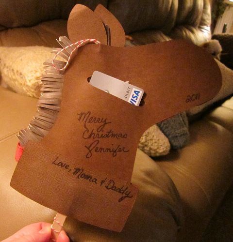 The Backside Of My Hobby Horse Gift Card Holder I Cut A Strip Of