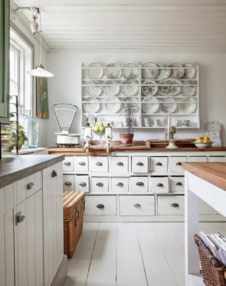 white kitchen and wooden vintage style with wooden worktop